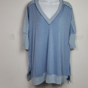 UMGEE oversized tunic 3/4 sleeve light blue sz S